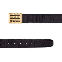 Handmade polished crocodile leather belt Colour: N999 Size: 115
