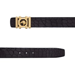 Handmade polished crocodile leather belt Colour: N999 Size: 95