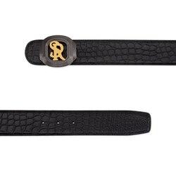 Handmade diamante crocodile leather belt Colour: N999 Size: 100