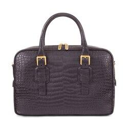 Handmade crocodile document bag Colour: 9005 Size: One Size