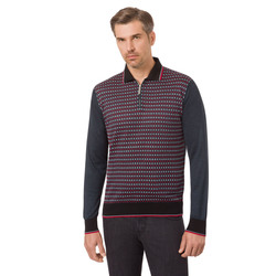 Jacquard knit zip polo
