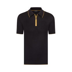 Zip Polo with Matted Crocodile Leather Inserts Colour: F20102_3131 Size: 58