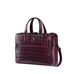 Handmade Business Bag in Matted Crocodile Leather  Colour: R015 Size: One Size
