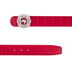 Matted Crocodile Leather Belt Colour: R020 Size: 100