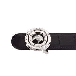Matted Crocodile Leather Belt Colour: N999 Size: 120