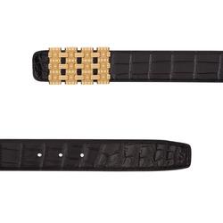 Diamante Crocodile Leather Belt Colour: N999 Size: 115