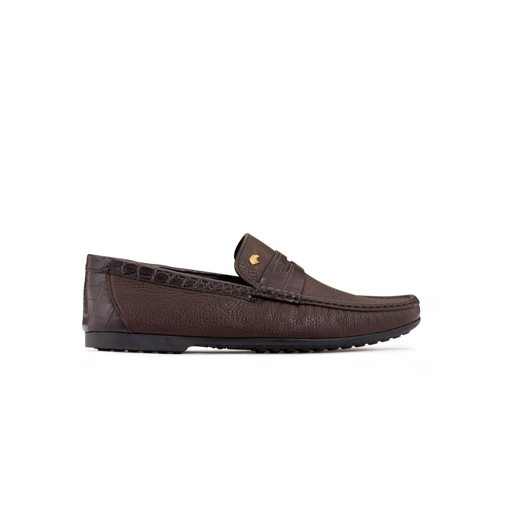 Deerskin and crocodile leather penny loafers Colour: M019 Size: 10½
