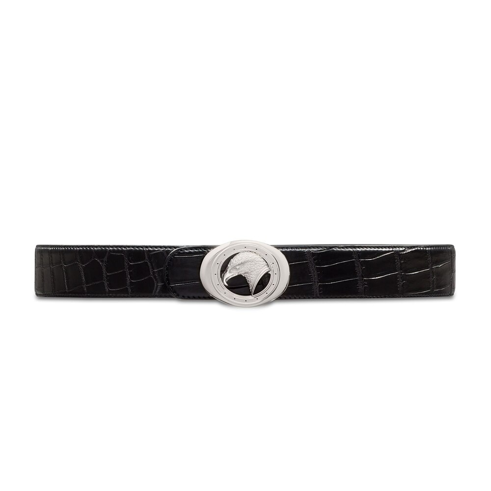 Handmade matted crocodile leather belt Colour: N999 Size: 105