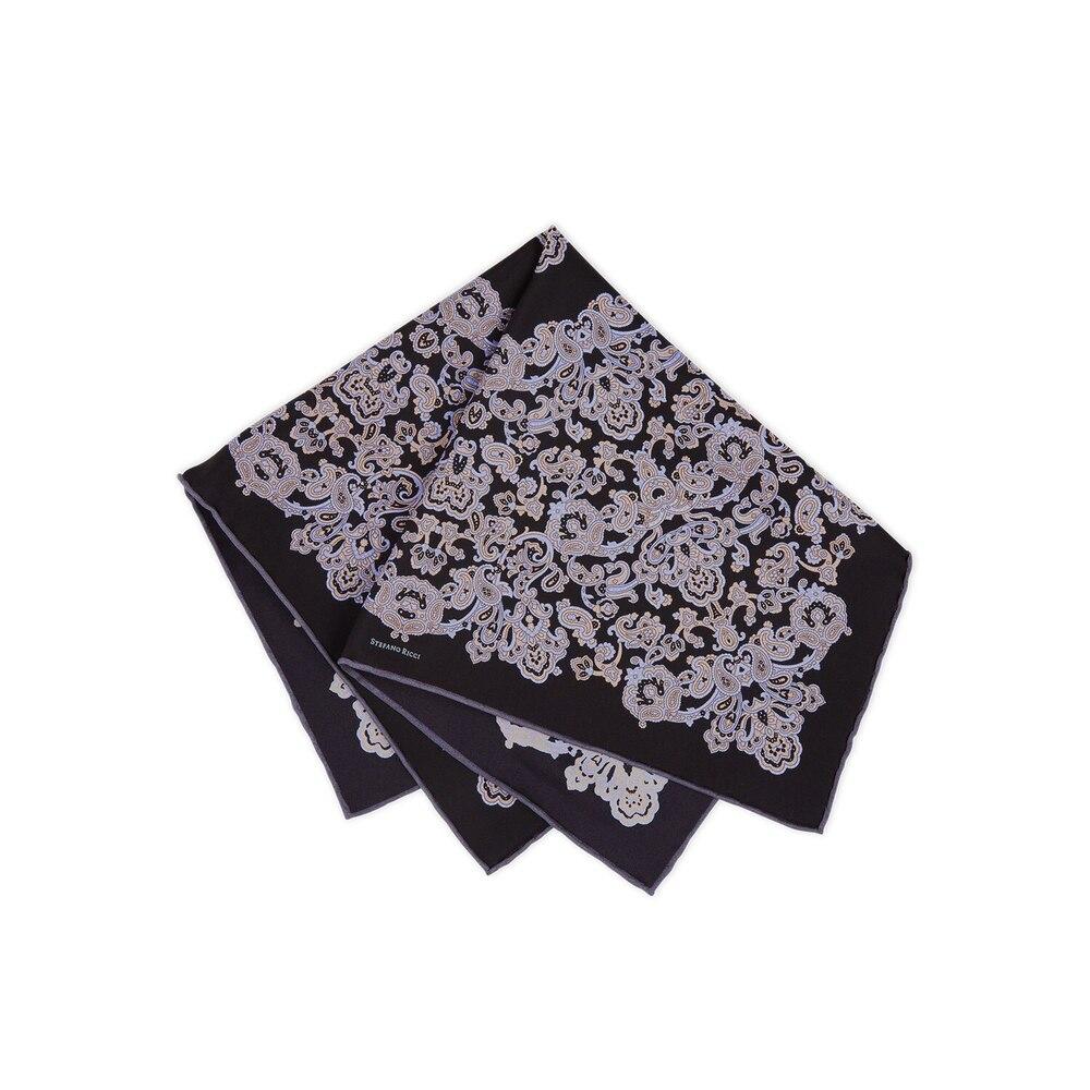 Hand printed silk handkerchief Colour: FZSR8_7B Size: One Size
