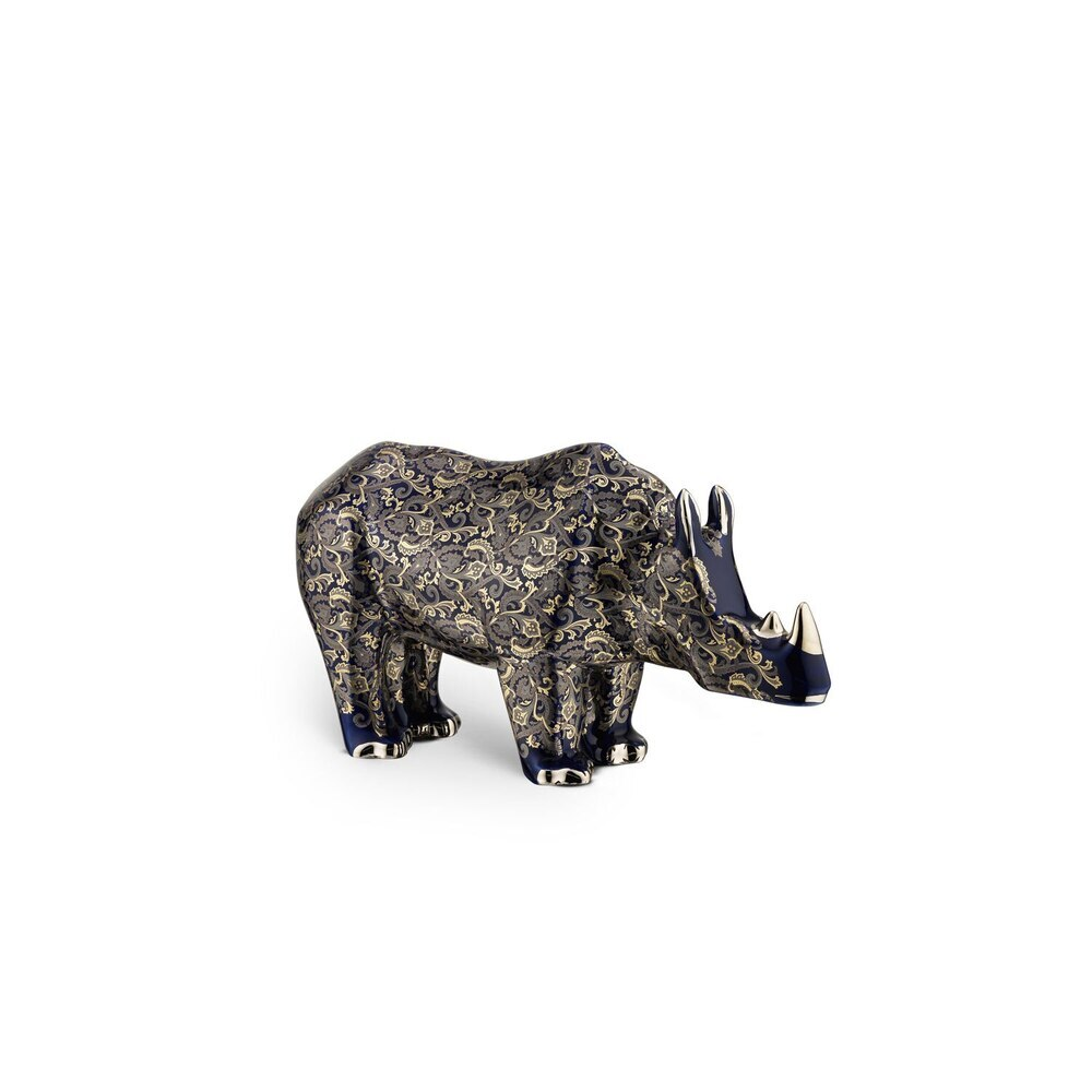 Blue royal cashmere small porcelain rhino ornament Colour: 5027 Size: One Size