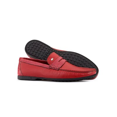 Deerskin and crocodile leather penny loafers Colour: R002 Size: 7