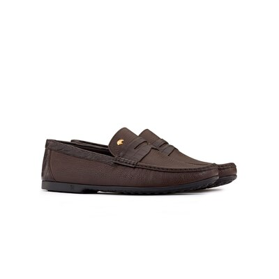 Deerskin and crocodile leather penny loafers Colour: M019 Size: 10