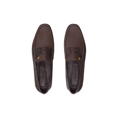 Deerskin and crocodile leather penny loafers Colour: M019 Size: 6½