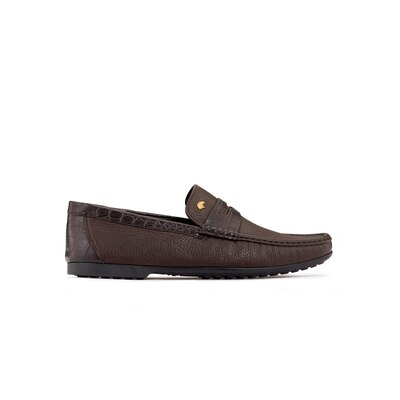 Deerskin and crocodile leather penny loafers Colour: M019 Size: 11½
