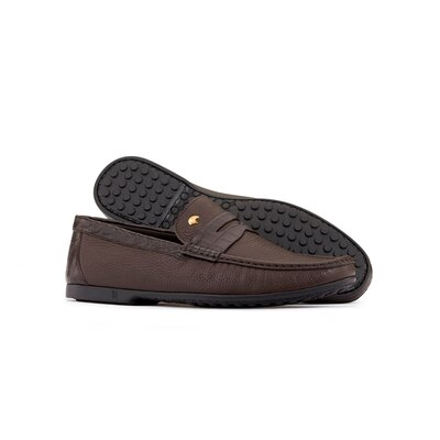 Deerskin and crocodile leather penny loafers Colour: M019 Size: 8