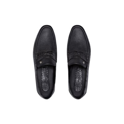 Deerskin and crocodile leather penny loafers Colour: N999 Size: 11½