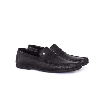 Deerskin and crocodile leather penny loafers Colour: N999 Size: 7½