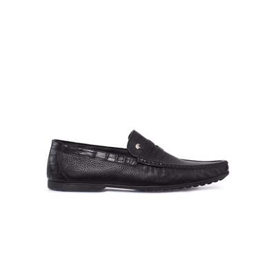 Deerskin and crocodile leather penny loafers Colour: N999 Size: 8½