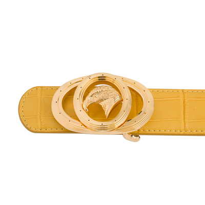 Handmade Matted Crocodile Leather Belt Colour: Y020 Size: 100