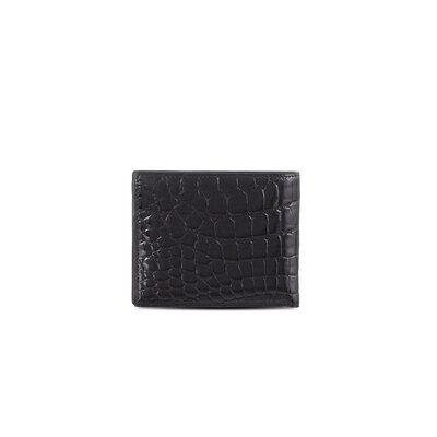 Handmade crocodile bifold wallet Colour: 9005 Size: One Size