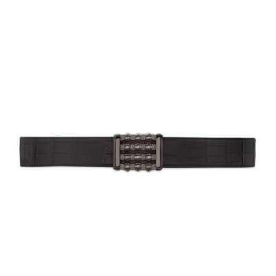 Handmade Matted Crocodile Leather Belt Colour: N999 Size: 90