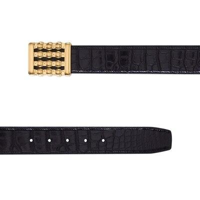 Handmade diamante crocodile leather belt Colour: N999 Size: 105
