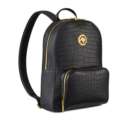 Handmade crocodile and calfskin backpack N999 Size: One Size