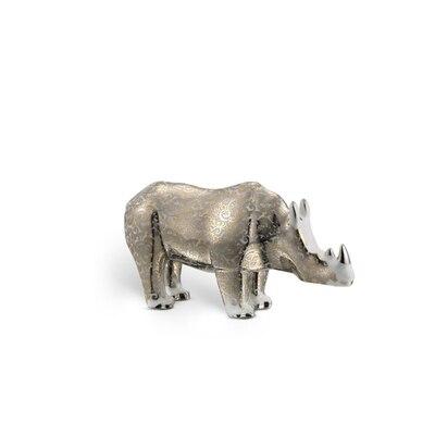 Luxury silk small porcelain rhino ornament Colour: 9016 Size: One Size