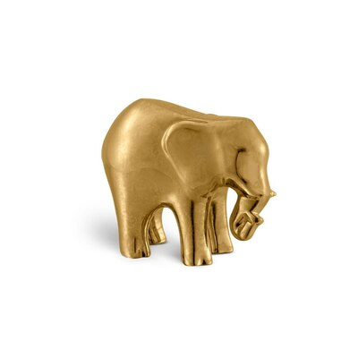 Gold paisley small porcelain elephant ornament Colour: 1036 Size: One Size