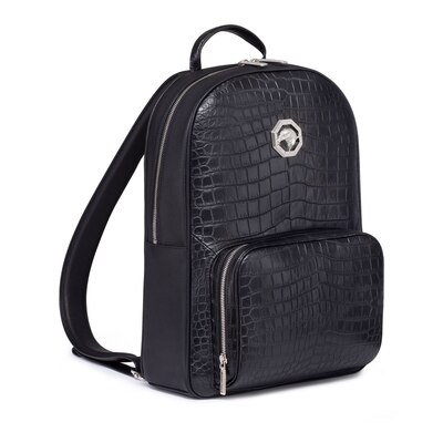 Handmade crocodile leather and calfskin leather backpack N999 Size: One Size