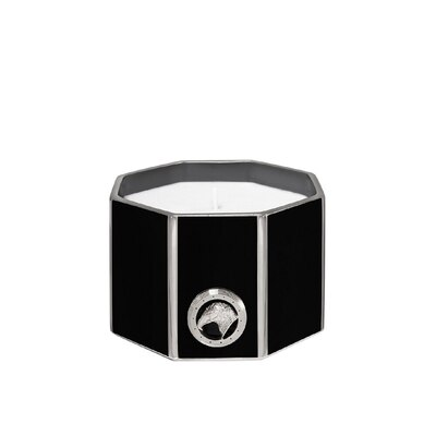 Black & platinum small octagonal scented candle