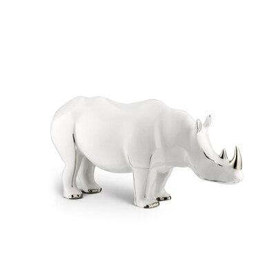 Platinum black large porcelain rhino ornament Colour: 7036 Size: One Size