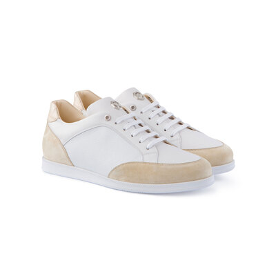 Suede Sneakers with Crocodile Leather Details