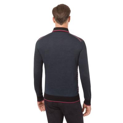 Jacquard knit zip polo