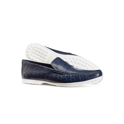 Matted Crocodile Leather Penny Slot Loafers Colour: B049 Size: 8½