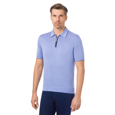 Zip Polo with Matted Crocodile Leather Inserts Colour: F20102_3175 Size: 62