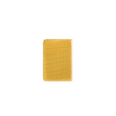 Matted Crocodile Leather Passport Holder