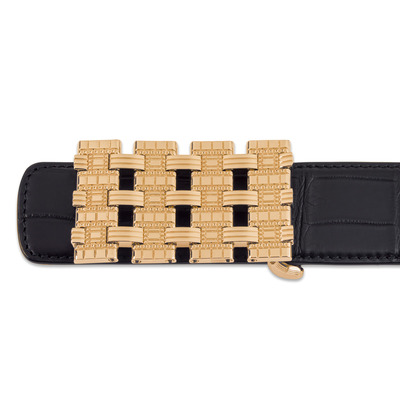 Diamante Crocodile Leather Belt Colour: N999 Size: 95